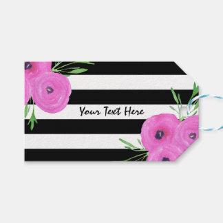 Etiqueta Para Presente O branco preto listra o ranúnculo cor-de-rosa