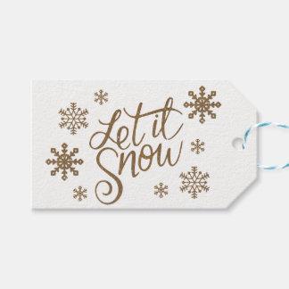 Etiqueta Para Presente O brilho elegante do ouro deixou-o nevar flocos de