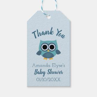 Etiqueta Para Presente O chá de fraldas azul da coruja/aniversário