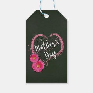 Etiqueta Para Presente O coração cor-de-rosa floresce o dia das mães -