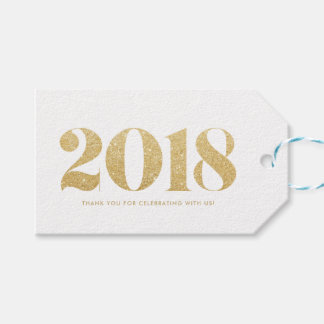 Etiqueta Para Presente O feliz ano novo 2018 da tipografia do brilho do