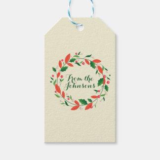 Etiqueta Para Presente O Feliz Natal envolve o marfim tradicional simples
