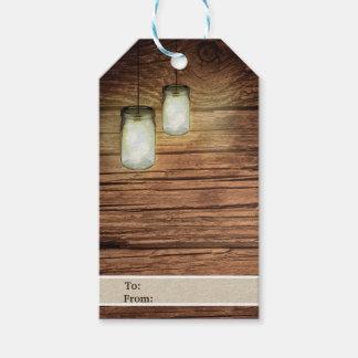Etiqueta Para Presente O frasco de pedreiro de madeira do país rústico