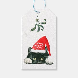 Etiqueta Para Presente o gato meowy do feriado do Natal no chapéu do