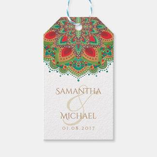 Etiqueta Para Presente O obrigado verde do casamento da mandala você
