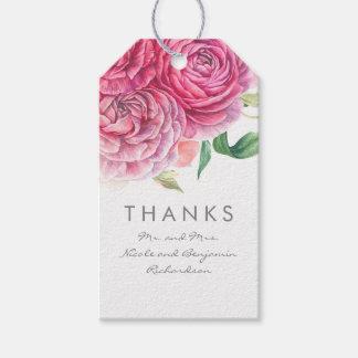 Etiqueta Para Presente O rosa floresce aguarelas elegantes e românticas