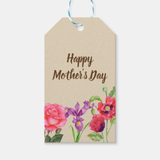 Etiqueta Para Presente O verão da aguarela floresce o dia das mães floral