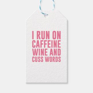 Etiqueta Para Presente O vinho da cafeína & Cuss palavras
