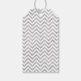 Etiqueta Para Presente O ziguezague elegante da folha de prata listra o
