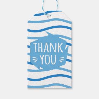 Etiqueta Para Presente Obrigado abstrato listras azuis e brancas você