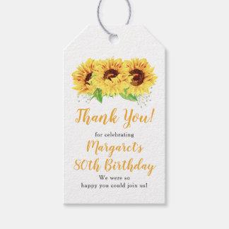 Etiqueta Para Presente Obrigado amarelo do aniversário do 80 do girassol