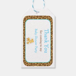 Etiqueta Para Presente Obrigado azul do girafa do pintinho bonito você