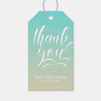 Etiqueta Para Presente Obrigado azul e bege de Ombre da praia você Tag do