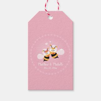 Etiqueta Para Presente Obrigado bonito do casamento do rosa do noivo da