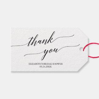 Etiqueta Para Presente Obrigado branco e preto elegante da caligrafia