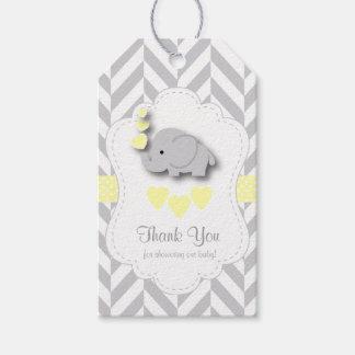 Etiqueta Para Presente Obrigado cinzento amarelo, branco do chá de