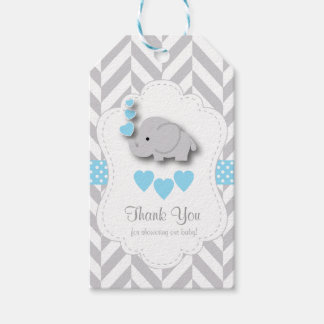 Etiqueta Para Presente Obrigado cinzento azul, branco do chá de fraldas
