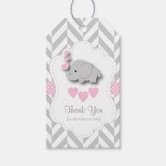Etiqueta Para Presente Obrigado cinzento cor-de-rosa, branco do chá de