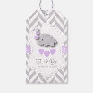 Etiqueta Para Presente Obrigado cinzento roxo, branco do chá de fraldas