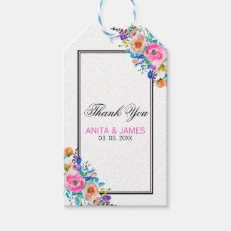Etiqueta Para Presente Obrigado colorido das flores da aguarela você