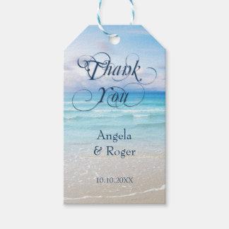 Etiqueta Para Presente Obrigado colorido do favor do casamento de praia