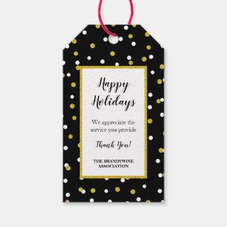 Etiqueta Para Presente Obrigado confetes do ouro do preto do Tag do