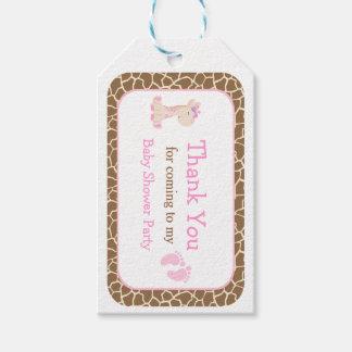 Etiqueta Para Presente Obrigado cor-de-rosa bonito do girafa da menina