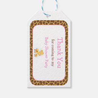 Etiqueta Para Presente Obrigado cor-de-rosa bonito do girafa você Tag do