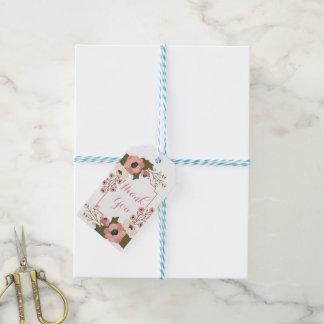 Etiqueta Para Presente Obrigado cor-de-rosa floral você flores da