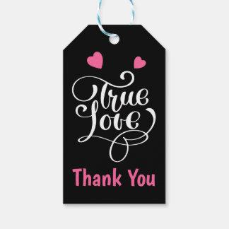 Etiqueta Para Presente Obrigado cor-de-rosa & os corações verdadeiros