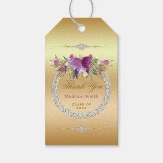 Etiqueta Para Presente Obrigado da graduação dos diamantes das flores
