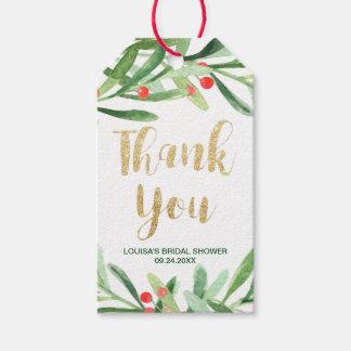 Etiqueta Para Presente Obrigado da grinalda do azevinho do Natal você