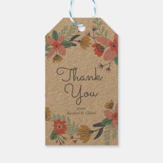 Etiqueta Para Presente Obrigado da grinalda do jardim você