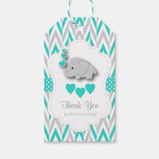 Etiqueta Para Presente Obrigado do chá de fraldas do elefante do azul de