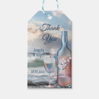 Etiqueta Para Presente Obrigado do favor do casamento da praia e do vinho