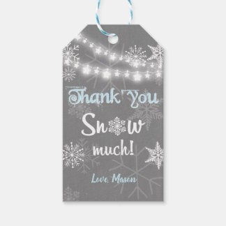 Etiqueta Para Presente Obrigado do inverno você neva muito azul do menino