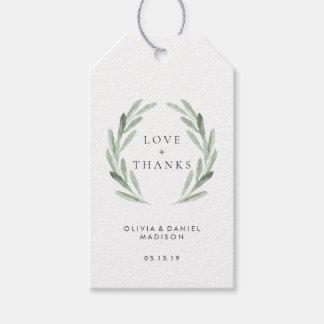 Etiqueta Para Presente Obrigado elegante do casamento da grinalda verde