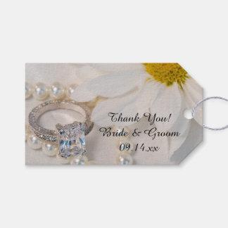Etiqueta Para Presente Obrigado elegante do casamento da margarida branca