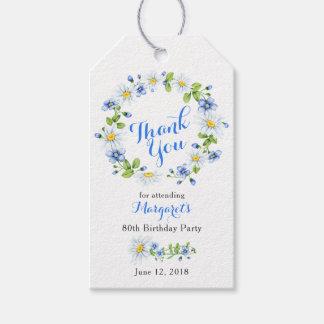 Etiqueta Para Presente Obrigado floral azul do aniversário do 80 da