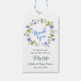 Etiqueta Para Presente Obrigado floral azul do casamento da margarida