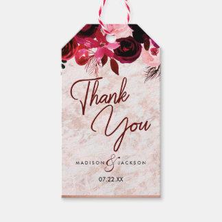 Etiqueta Para Presente Obrigado floral & cor-de-rosa de Borgonha do ouro