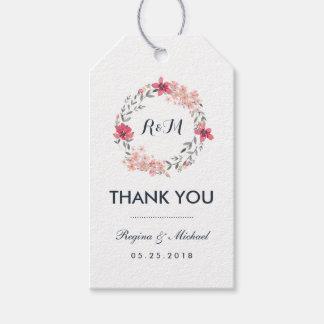 Etiqueta Para Presente Obrigado floral do casamento da grinalda do