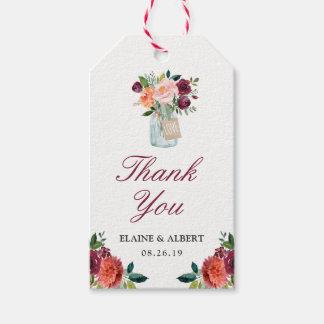 Etiqueta Para Presente Obrigado floral do casamento do frasco de pedreiro