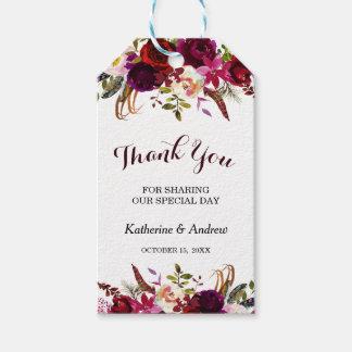 Etiqueta Para Presente Obrigado floral do casamento do outono de Borgonha
