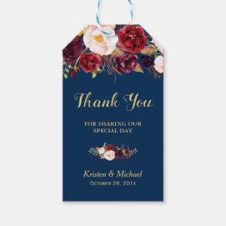 Etiqueta Para Presente Obrigado floral do favor do casamento dos azuis
