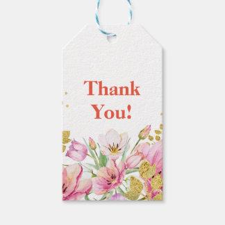 Etiqueta Para Presente obrigado floral do rosa e o branco você Tag do
