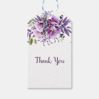 Etiqueta Para Presente Obrigado floral roxo da lavanda violeta você |
