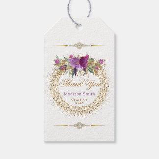 Etiqueta Para Presente Obrigado Glam da graduação você flores roxas do