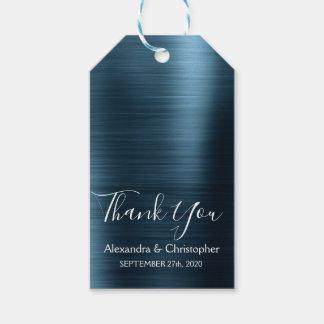 Etiqueta Para Presente Obrigado moderno do casamento dos azuis marinhos
