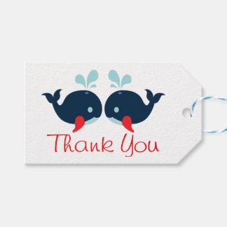 Etiqueta Para Presente Obrigado náutico você baleias azuis marinhos &